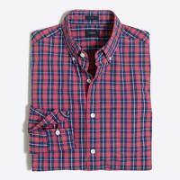 Slim washed shirt in tartan