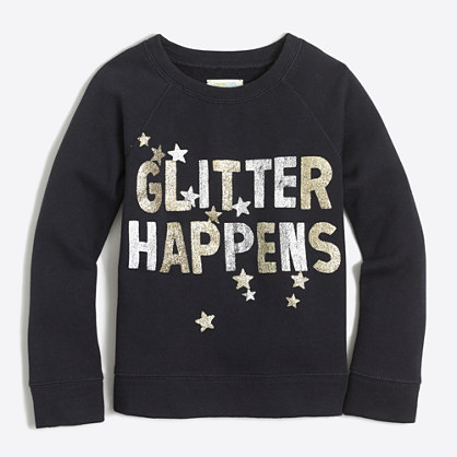 "Girls' ""glitter happens"" sweatshirt"