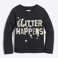 "Girls' ""glitter happens"" sweatshirt"