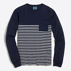 Long-sleeve drop-stripe T-shirt