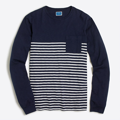 Long-sleeve drop-stripe T-shirt