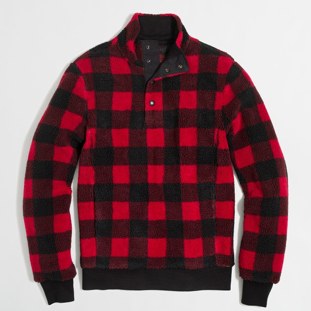 Buffalo plaid upstate fleece pullover
