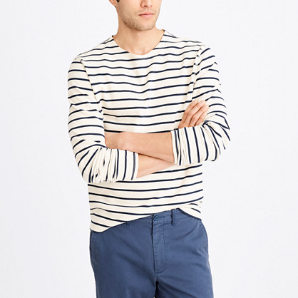 Long-sleeve nautical-striped crewneck T-shirt