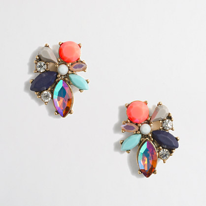 Mixed cluster gemstone earrings