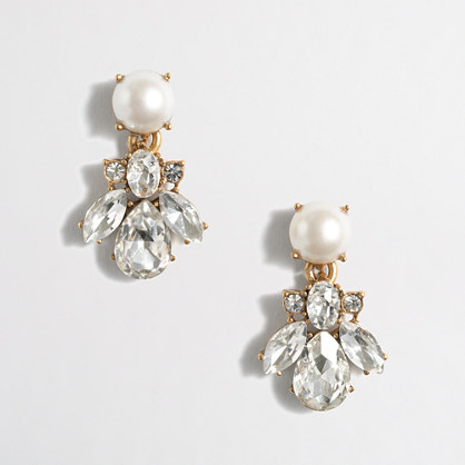 Pearl and crystal dangle earrings