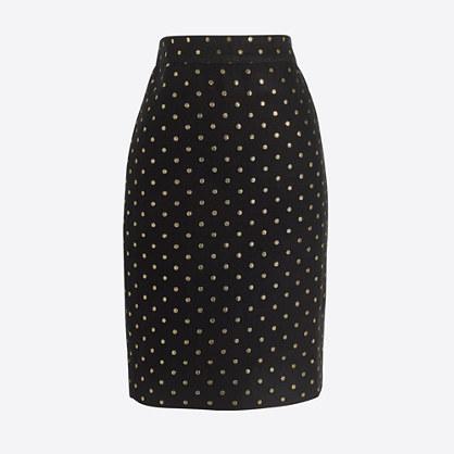 Lurex® dot jacquard pencil skirt