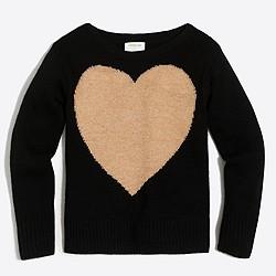 Girls' Lurex® heart intarsia popover sweater