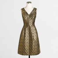 Metallic dot jacquard V-neck dress