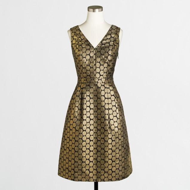 Metallic dot jacquard V-neck dress