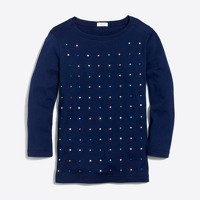 Girls' three-quarter sleeve embellished grid T-shirt
