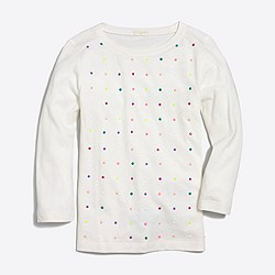 Girls' three-quarter sleeve embellished grid T-shirt