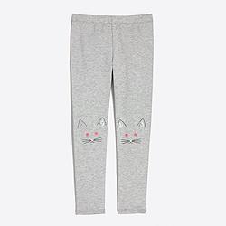 Girls' kitty knee-patch leggings