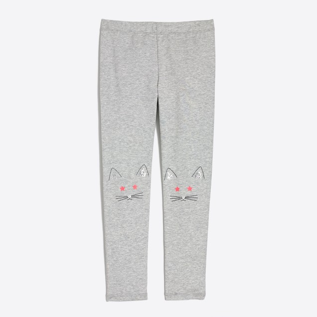 Girls' kitty knee-patch leggings
