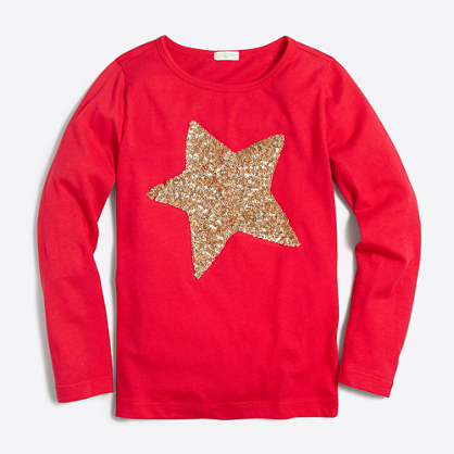 Girls 39 long sleeve sequin star keepsake t shirt girls for Girls sequin t shirt