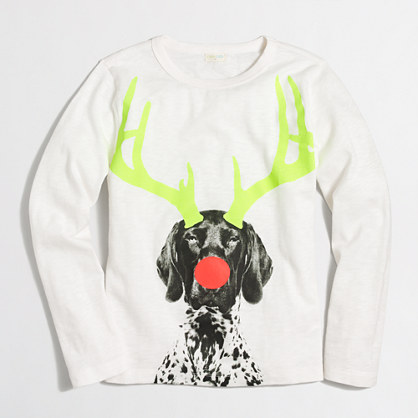 Boys' long-sleeve glow-in-the-dark holiday dog storybook T-shirt
