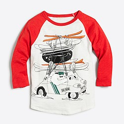 Boys' three-quarter sleeve yeti driving with skiis storybook T-shirt