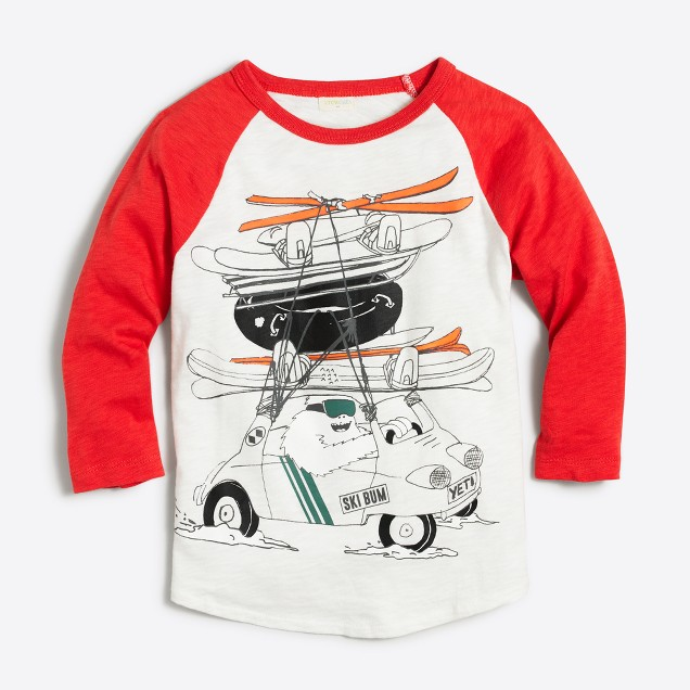 Boys' three-quarter sleeve yeti driving with skiis storybook T-shirt