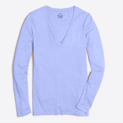 Long-sleeve featherweight slub cotton V-neck T-shirt