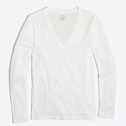 Long-sleeve featherweight slub cotton V-neck T-shirt