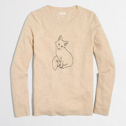 Embroidered fox Teddie sweater