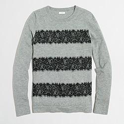 Striped lace Teddie sweater