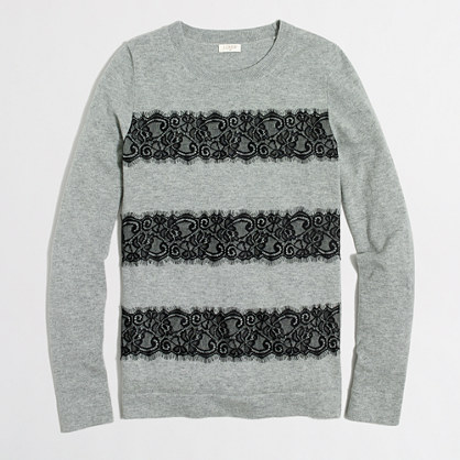Striped lace Teddie sweater