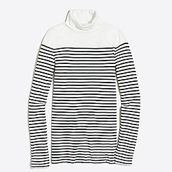 Drop-stripe tissue turtleneck