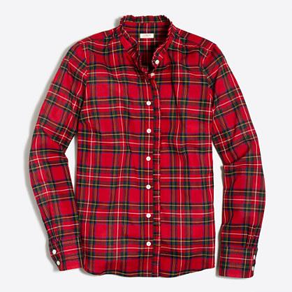 Petite plaid ruffle shirt