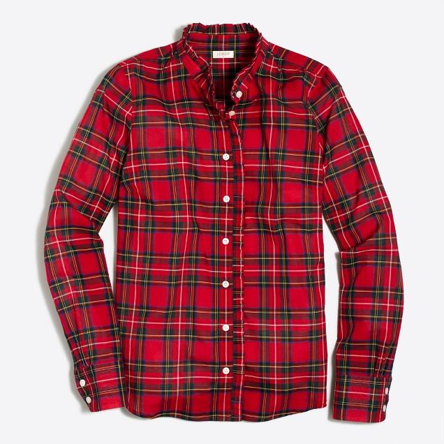 Plaid ruffle shirt