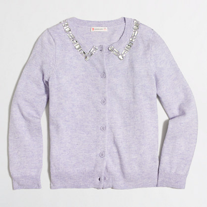 Girls' jeweled-collar cardigan sweater
