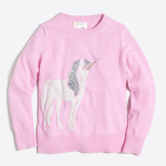 Girls' embellished unicorn intarsia popover sweater