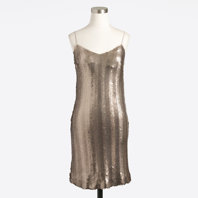 Sequin herringbone slip dress