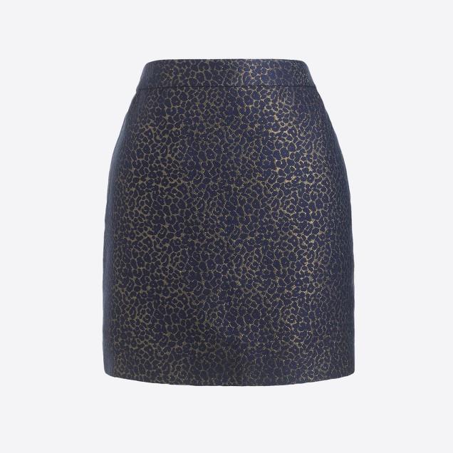 Metallic leopard jacquard mini skirt