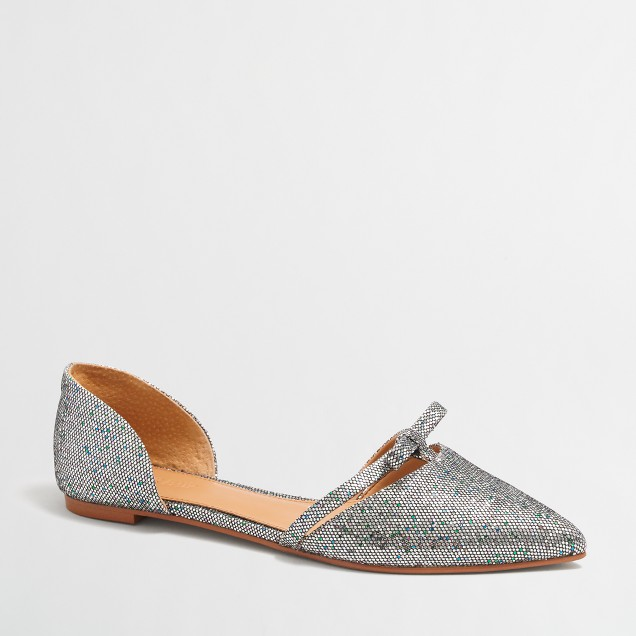Glitter d'Orsay flats with mini bow
