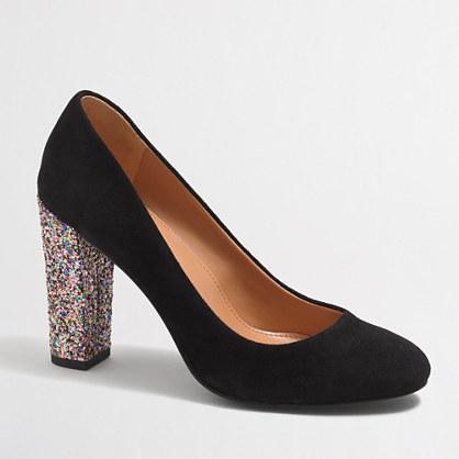 Olive glitter-heel pumps