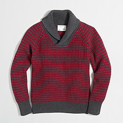 Boys' cotton striped shawl-collar popover sweater