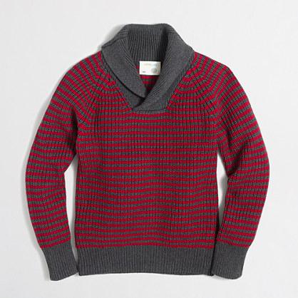 Boys' cotton striped shawl-collar popover sweater