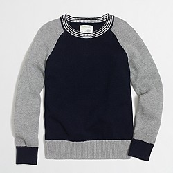 Boys' cotton colorblock striped-trim sweatshirt