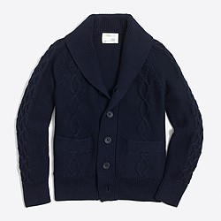 Boys' cotton shawl-collar cable cardigan sweater