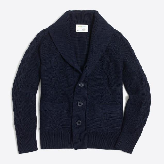 Boys' cotton shawl-collar cable cardigan sweater