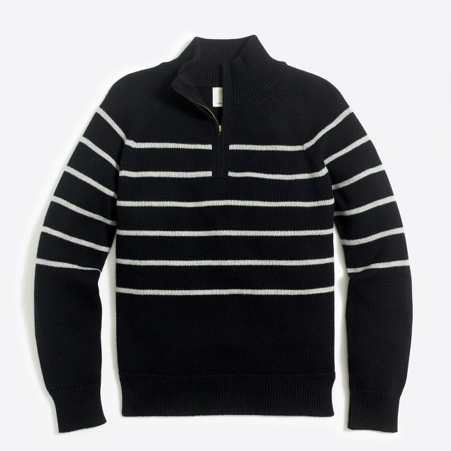 Boys' striped half-zip sweater