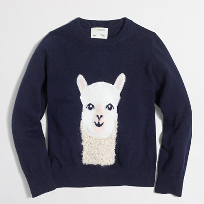Girls' alpaca intarsia popover sweater