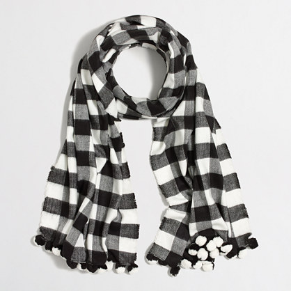 plaid pom pom scarf shopswell. Black Bedroom Furniture Sets. Home Design Ideas