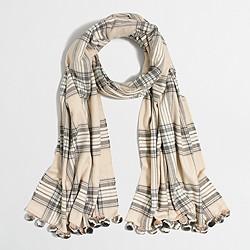 Plaid pom-pom scarf
