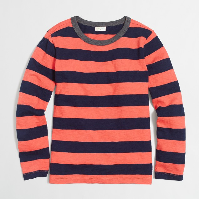 Boys' long-sleeve deck-striped T-shirt