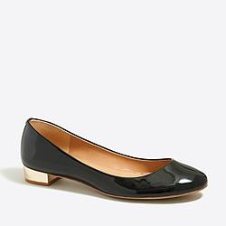 Metallic-heel patent ballet flats