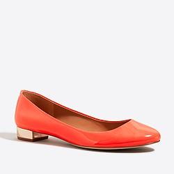 Lily metallic-heel patent ballet flats