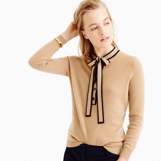 Italian Cashmere Tie-Neck Sweater : Women's Cashmere Sweaters | J.Crew