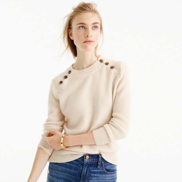 Italian Cashmere Waffle Sweater With Buttons : Women's Cashmere ...