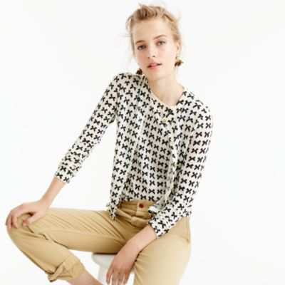Lightweight Wool Jackie Cardigan Sweater In Bow Print : Women's ...